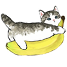 Bananacat - meong - Tray Sticker