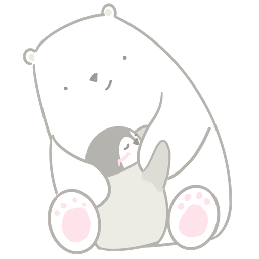 Polar bear Vanilla & Penguin Mochi  - Tray Sticker