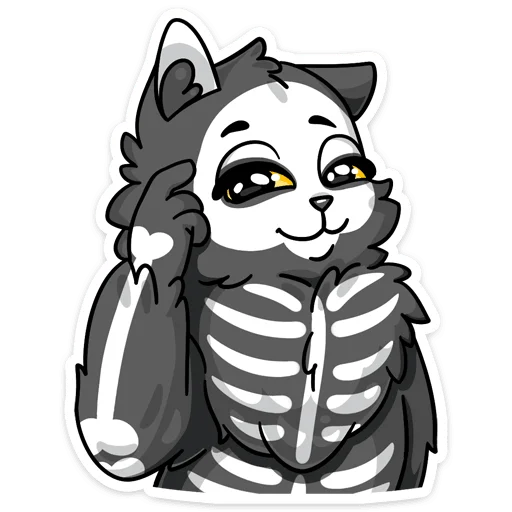 skeleton cat - Sticker 21