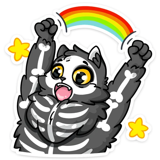 skeleton cat - Sticker 5