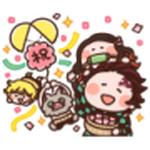 鬼滅 kanahei style 02 - Tray Sticker