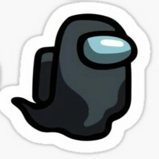 Черный Among Us  - Tray Sticker
