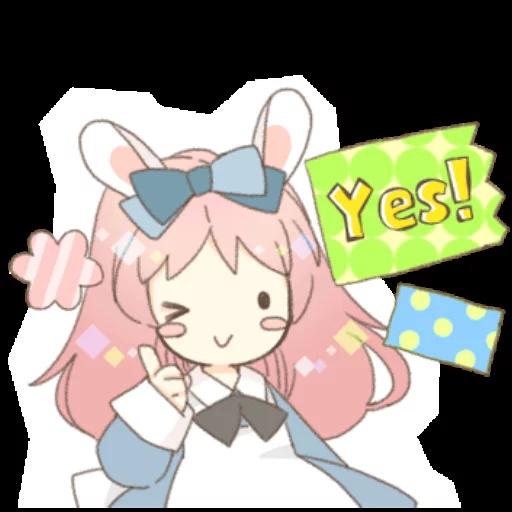 Rabbit Ear Girl Rosy - Sticker 3