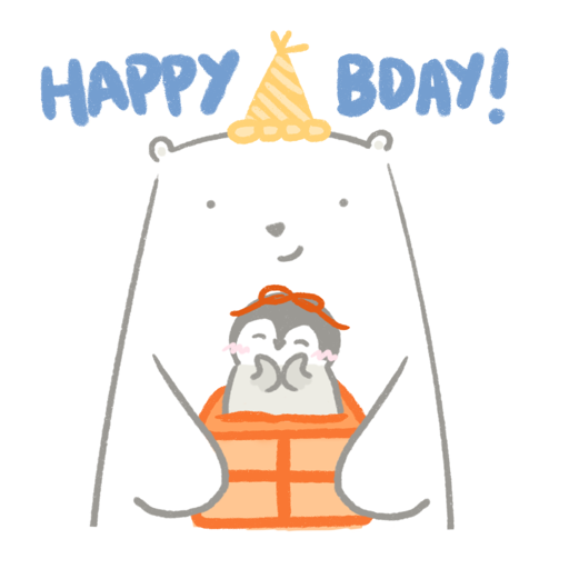Polar bear Vanilla & Penguin Mochi #2 Celebrations - Sticker 1