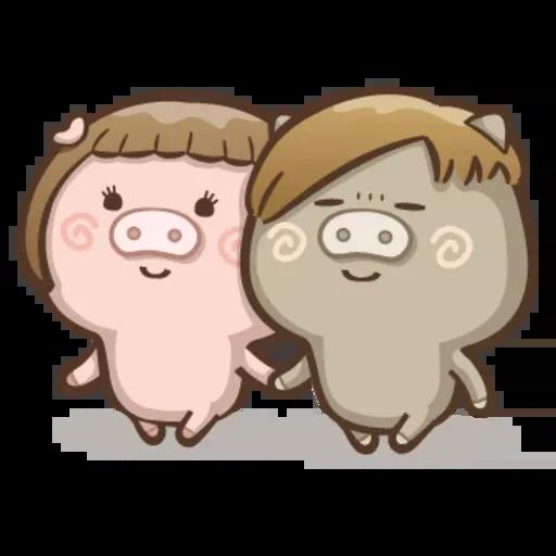 Fat pig couple - Sticker 5