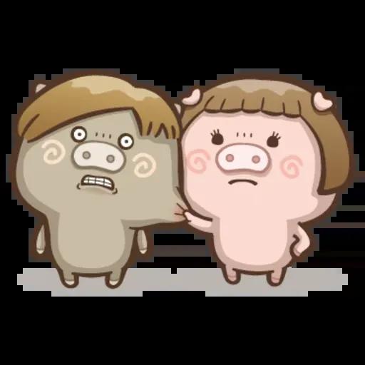 Fat pig couple - Sticker 10