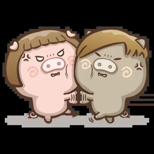 Fat pig couple - Sticker 17