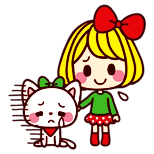 Girl and cat II - Sticker 3