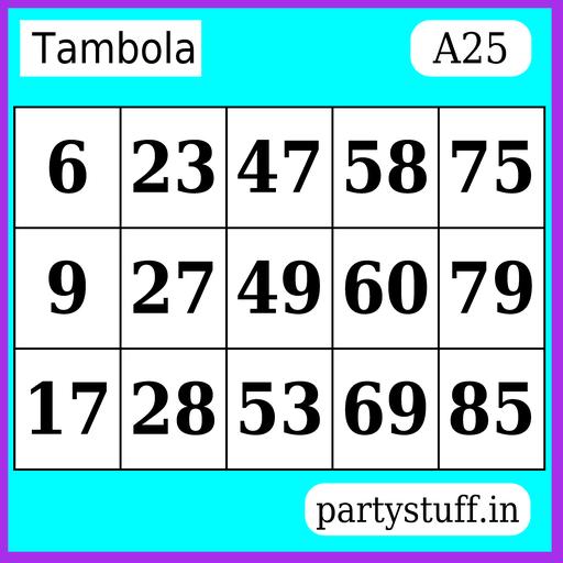PS Tambola Tickets - Sticker 25
