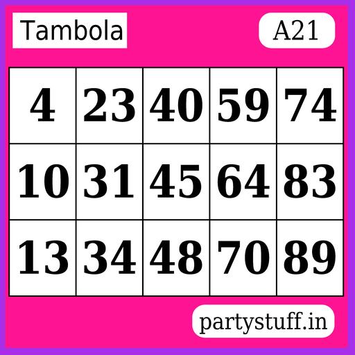 PS Tambola Tickets - Sticker 21