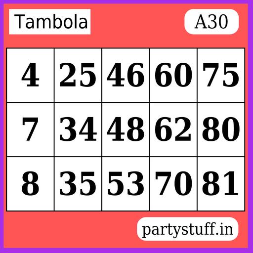 PS Tambola Tickets - Sticker 30