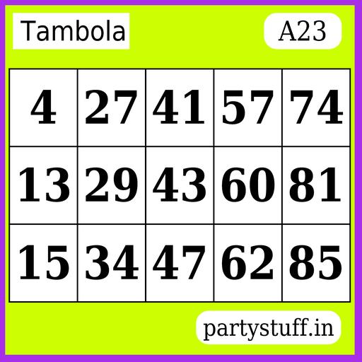 PS Tambola Tickets - Sticker 23