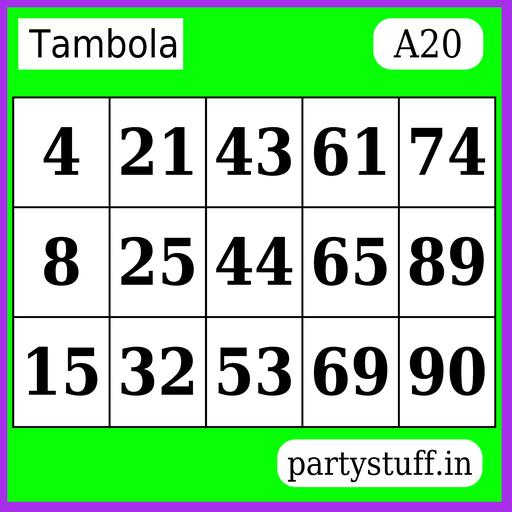 PS Tambola Tickets - Sticker 20