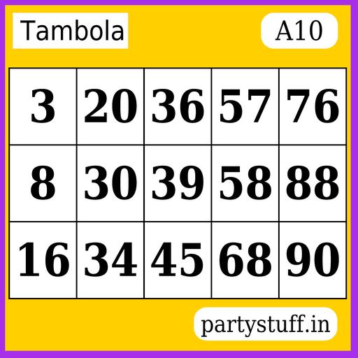 PS Tambola Tickets - Sticker 10