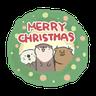 水獺蹭蹭 - 聖誕蹭蹭好朋友 - Tray Sticker