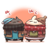 Shiro the rabbit & kuro the cat Part5 - Tray Sticker