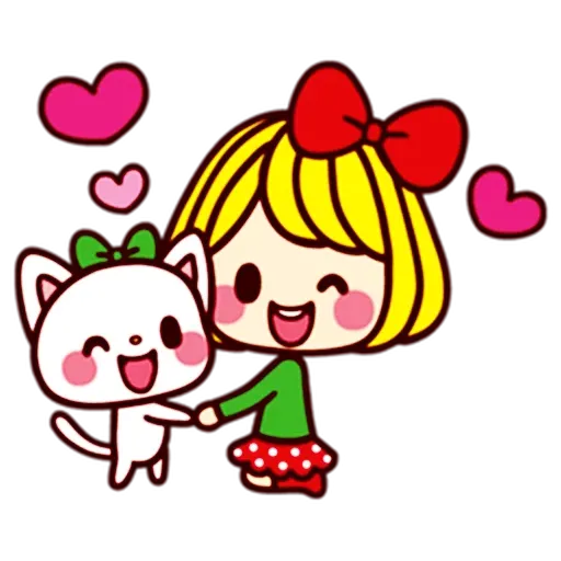 Girl and cat - Sticker 29